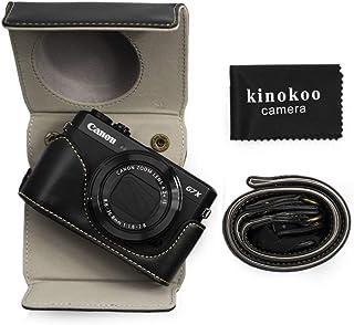 kinokoo PU Leder Tasche für Canon PowerShot G7 X Mark II/G7X Mark III, Schutztasche Canon G7X III/G7X II Kameratasche (Schwarz)