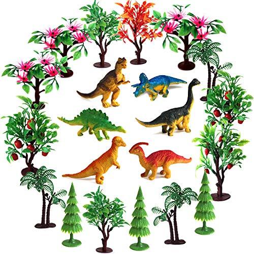 OrgMemory Bäume Kuchen Dekorationen, Modellbau Bäume mit Basen, 21 Stück, Dinosaurier Figuren für Miniatur Deko oder Cake Topper (Dinosaurier und Bäume)
