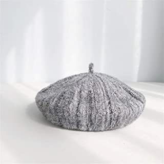 SHENTIANWEI Chenille Blending Beret Painter Cap Female Autumn and Winter Korean Imitation Mink hat Pumpkin hat Japanese Literary Wild (Color : Grey, Size : One Size)