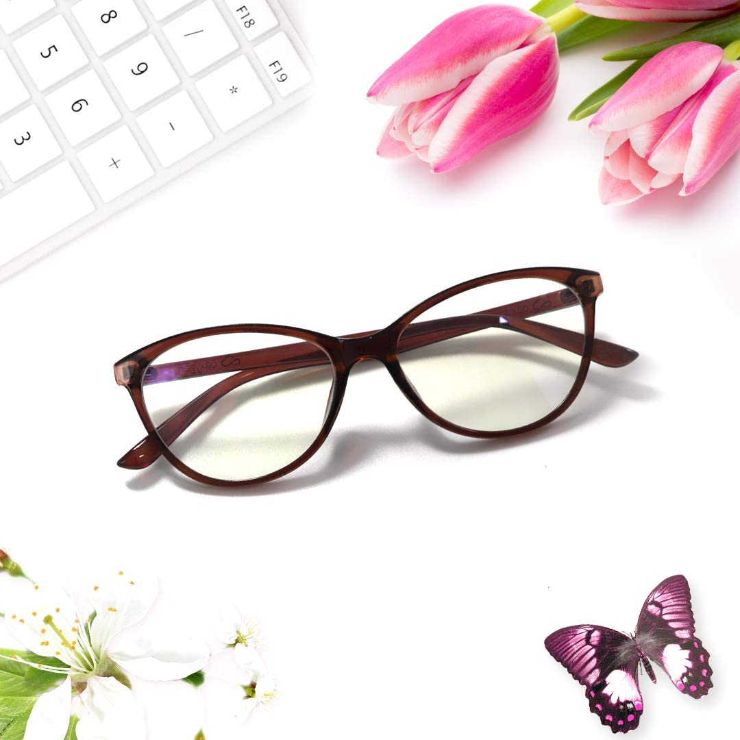 OAXYGEN Blue Light Blocking Glasses for Women Men Teens (Cat Eye/Dark Brown)
