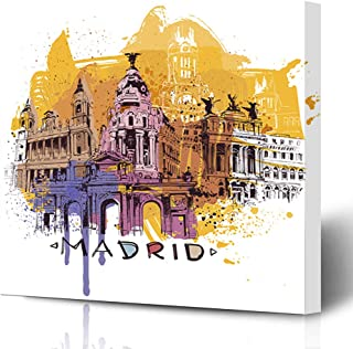 Ahawoso Canvas Prints Wall Art Printing 8x8 Blue Spain Spray Madrid Gate Sketch Parks Yellow Painting Tourist Architecture Pop Toledo Brushes Painting Artwork Home Living Room Office Bedroom Dorm