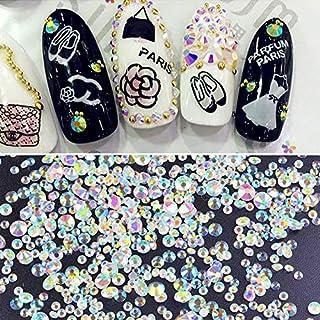 ICYCHEER Multi Size AB Kleur Nagel Art Strass Ronde Flatback Glas Charms Gems Stones Ronde Kralen Top Grade Mix Gems Stene...