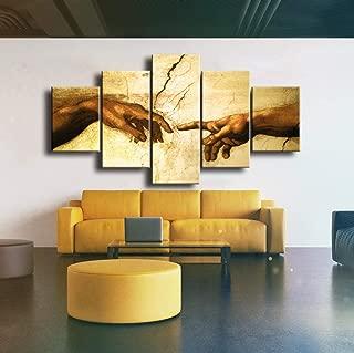 ABEQW Cuadro en Lienzo ¡Creación de Adán!¡Mano de Dios!Religión clásica 5 Piezas Wall Art Pictures Living Room Home Decor Print Poster