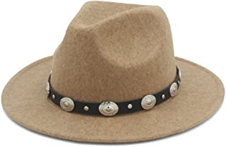 Ruiyue 100% Wool Men's Women's Winter Autumn Fedora Hat With DIY Punk Belt Wide Brim Church Sombreros Jazz Cap Top Hat