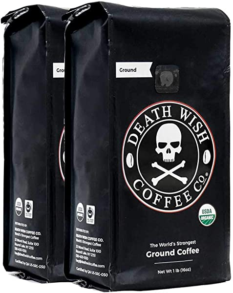 Death Wish Ground Coffee Bundle Deal The World S Strongest Coffee Fair Trade And USDA Certified Organic 2 Lb