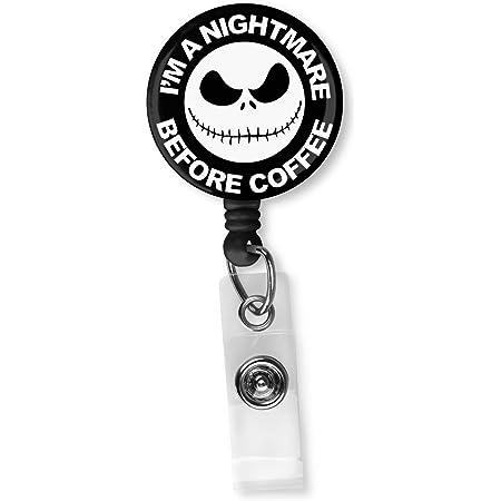 Medical Badge Reel Interchangeable OR Permanent Retractable Valentine\u2019s Themed Badge Holder Coffee Acrylic Badge Reel