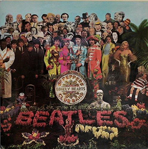 The Beatles - Sargent Pepper's Lonely Hearts Club Band (1967) - Póster/diseño de color negro marco de tarjeta de soporte (21 cm x 21 cm)