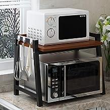 Microondas digitales horno Microondas soporte del estante de preparación en la cocina Organizador horno tostador bastidor de 2 Niveles con ganchos ahorrar espacio duradero horno de microondas Manual