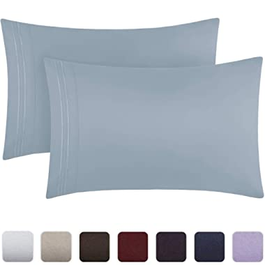 Mellanni Luxury Pillowcase Set - Brushed Microfiber 1800 Bedding - Wrinkle, Fade, Stain Resistant - Hypoallergenic (Set of 2 King Size, Blue Hydrangea)