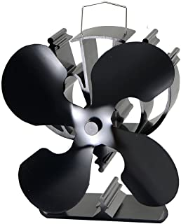 VODA 4-Blade Heat Powered Stove Fan for Wood/Log Burner/Fireplace Increases 80% More Warm..
