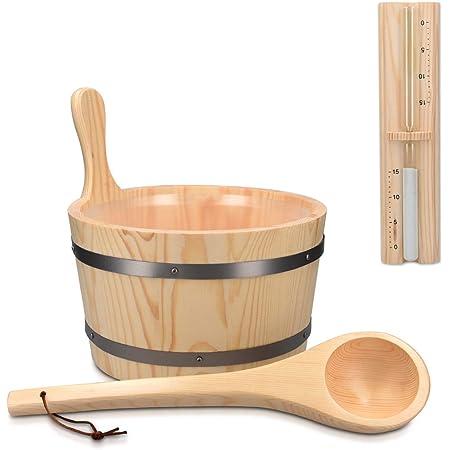 Navaris Accessoire de sauna - Set avec seau 5L et louche en bois - Sablier minuteur - Hammam spa sauna - Kit d'accessoires complet en bois de pin