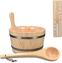 Navaris Accessoire de sauna - Set avec seau 5L et louche en bois - Sablier minuteur - Hammam spa sauna - Kit d'accessoires...