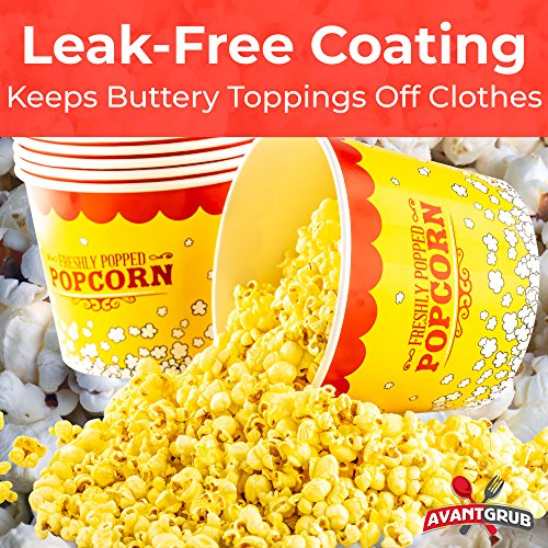 Product Image 3: Leakproof, Super Durable 85oz Popcorn Buckets 3 Pack. Grease-Proof Disposable Pop Corn Tubs With Cool Design Are the Ultimate Movie Theater Accessory. Large Containers Great for Any Party or Event