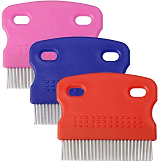 MAKINGTEC 3 Pieces Flea Comb for Cats Dogs Lice Combs Fine Tooth Comb Grooming Set Remove Float Hair Tear Marks Tick Remov...