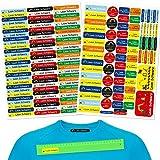 INDIGOS UG pegatinas nombre niños - set mixto - 160 piezas - excavadora - ropa y objetos - 80 planchas para ropa + 80 pegatinas - bolígrafos de guardería, vasos, reglas individualmente