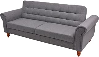 vidaXL Convertible Sofa Bed Fabric Gray Couch Daybed Futon Sleeper Chester