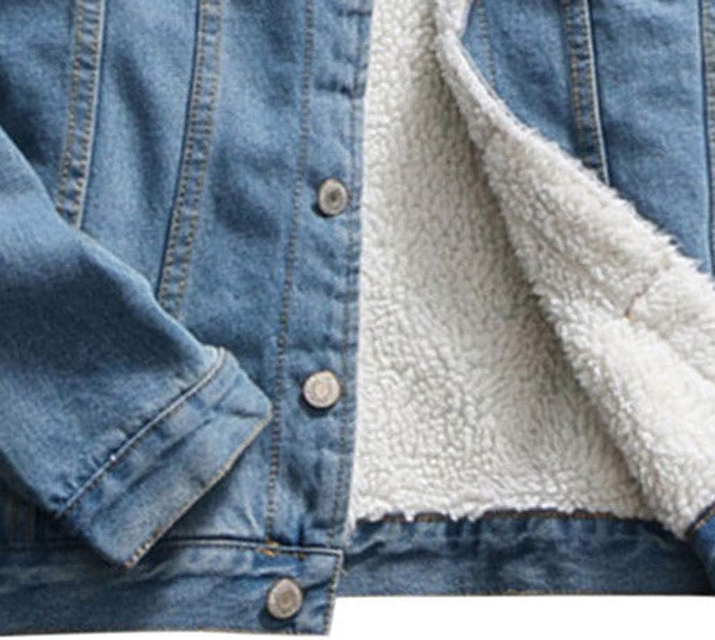 Lulupi Damen Jeansjacke Teddyfell Gefüttert Winterjacke Warme Denim Jacket Sherpa Fleece Jacke Übergangsjacke Mantel Coats Blau