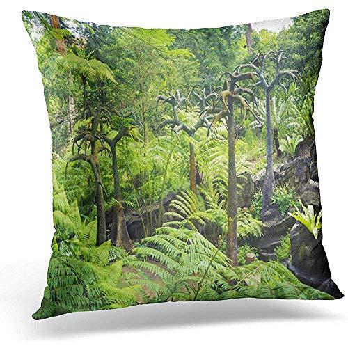 Niet toepasbare kussenslopen, groene natuur, prehistorisch landschap, scène stenen bomen in Singapore, aantrekkelijk nieuw kussenslopen voor sport, gym, atletische