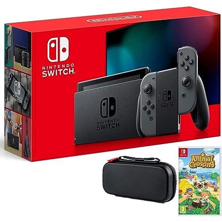 Nintendo Switch Bundle w/Game & Case: Nintendo Switch 32GB Consola con Gray Joy-Con, Animal Crossing New Horizons Game, Tigology Travel Case