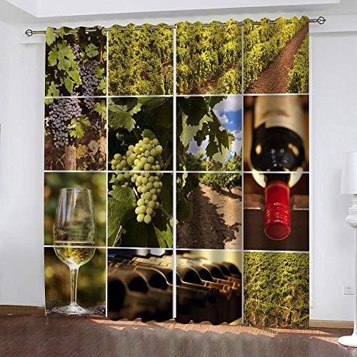 LLWERSJ Cortinas Opacas Finca vinícola de UVA Cortinas Opacas De Térmica Aislante Adecuado Cortina Blackout con Ojales Dormitorio habitación Infantil 2Paneles 2x117x138cm(An x Al)
