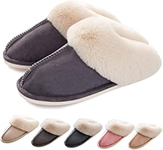 Womens Slippers Memory Foam Slippers Fluffy Warm Non-Slip Comfortable Slip-on House Shoes Plush Indoor/Outdoor Winter Fur Slippers