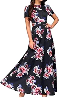 Mimfor Women Casual Elegent A-line Floral Vintage Print Evening Party Vestidos Dress