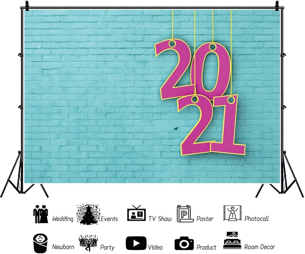 Leowefowa Happy New Year 2021 Photography Backdrop 12x8ft Vinyl Rustic Mint Green Brick Wall Hanging Rosered 2021 Numbers Background Child Adult Photo Shoot New Year Party Banner Wallpaper