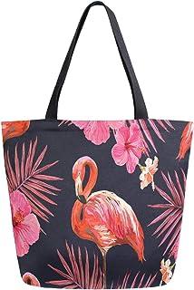Mnsruu Schöne Flamingo Bird Palm Tree Einkaufstasche Damen Große Casual Handtasche Schultertasche für Einkaufen Lebensmitt...