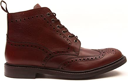 Loake Men's Grain Leather Bedale Brogue Boots Mahogany