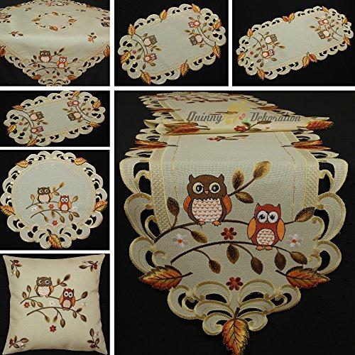 Quinnyshop Eulen Tischdecke Mitteldecke Tischläufer Kissenhülle Leinen-Optik Creme Beige Herbst Blatt Stickerei - Größe wählbar (ca. 85 x 85 cm)