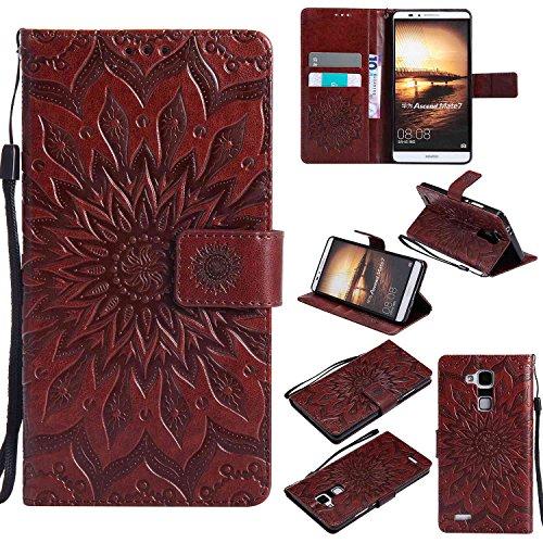 pinlu PU Leder Tasche Etui Schutzhülle für Huawei Ascend Mate 7 (6 Zoll) Lederhülle Schale Flip Cover Tasche mit Standfunktion Sonnenblume Muster Hülle (Braun)