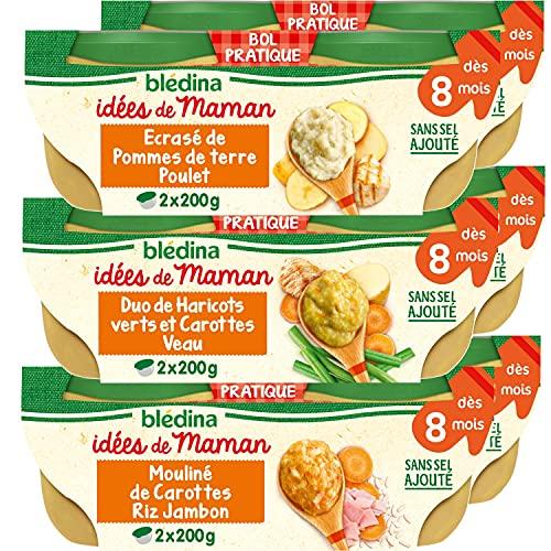Blédina, Idées de Maman, Repas bébé dès 8 Mois, Légumes & Viande, 12x200g