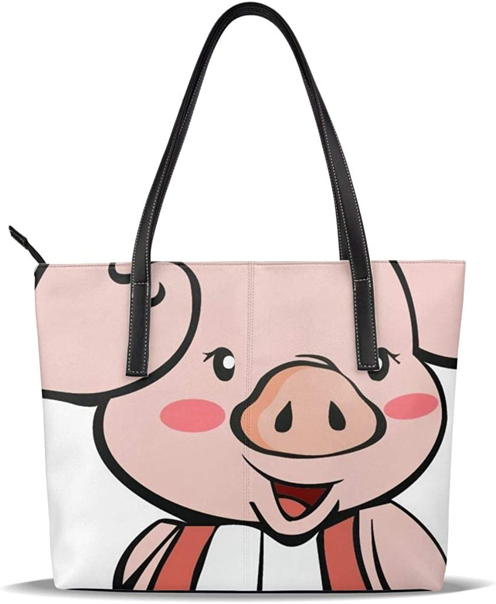 Cute Pig Cartoon PU Leather Animer and price revision Max 48% OFF Casual Shou Pattern Printed Handbags