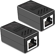 Best RJ45 Coupler, PLUSPOE 2 Pack Ethernet Cable Extender Inline LAN Connector Plugs for Cat5 Cat5e Cat6e Cat7 Cable, Female to Female (Black) Review