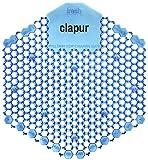 clapur Urinalsieb (2 Stk.) Duft Baumwollblüte, Austausch-Indikator, Spritzschutz doppelseitig, für jedes Pissoir, Urinal, Lufterfrischer, guter Geruch, eckig, blau