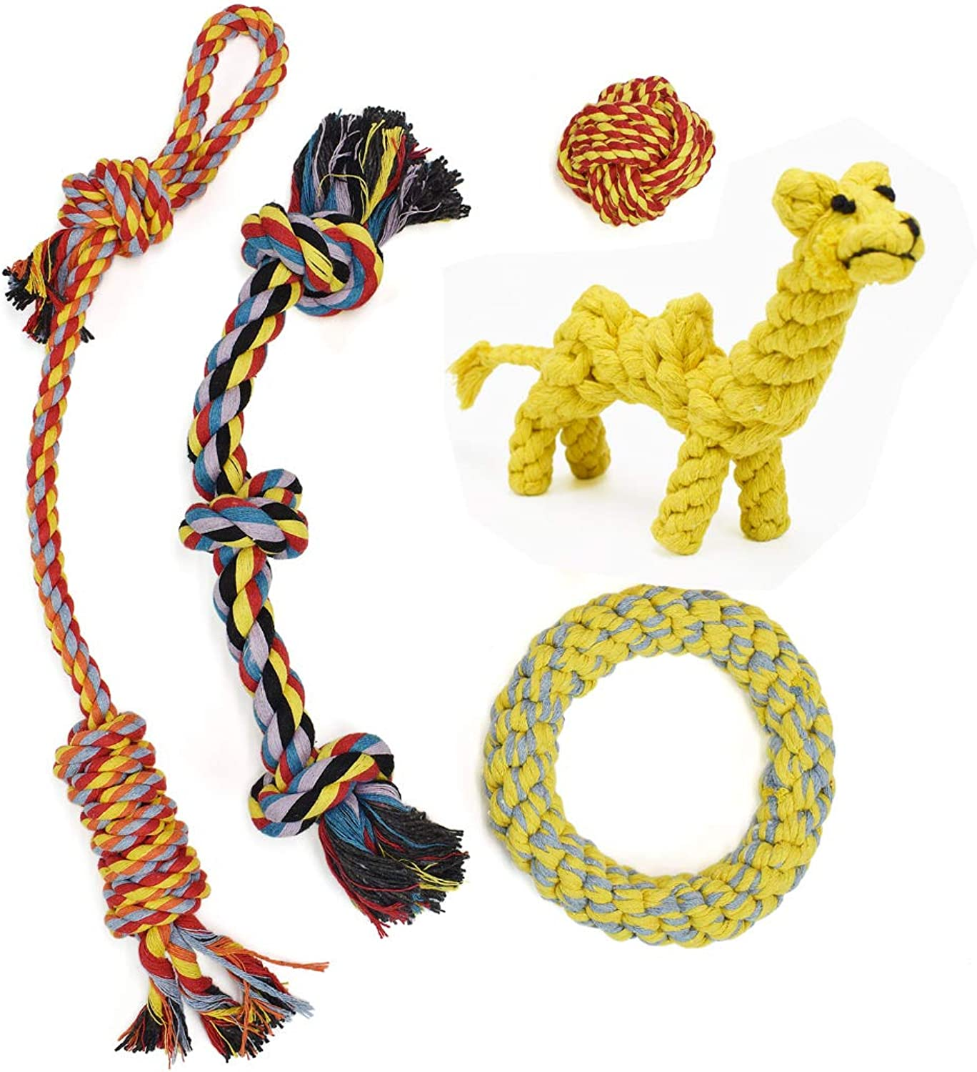 AIPP Pack of 5 Indoor and Outdoor Pets Puppy Dog Pet 100% Cotton Rope Toys for Medium to Large Dogs