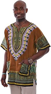 19fdd0d2a52f Dupsie s Bronze Traditional African Print Dashiki Shirt Small to 6XL Plus  Size