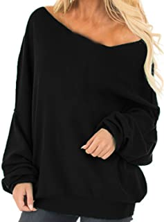 Womens Off The Shoulder Tops Baggy Shirt Long Sleeve Blouse Oversized Sweater Jumper Pullover