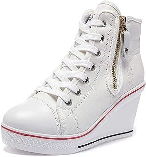 Mujer Cuñas Zapatos 35-43 EU De Lona High-Top Zapatos Casuales Talla Grande Zapatillas de Cuña para Mujer Zapatillas de De...