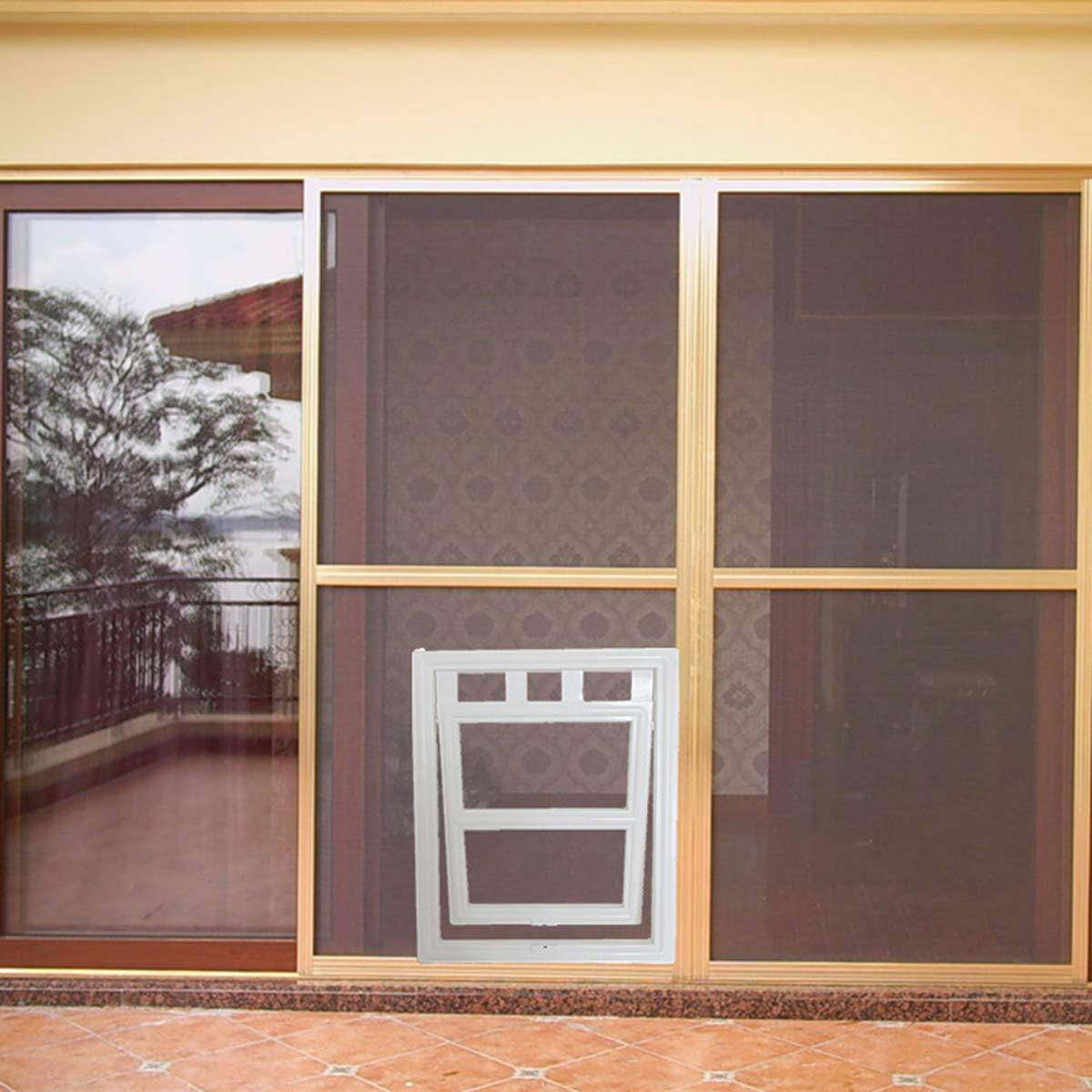 Tianhaik Mosquitera para Perro Mascota Tamaño Interior 7. 9X9. Puerta Corredera con Cerradura Magnética Automática de 9 Pulgadas para Gatos Pequeños: Amazon.es: Jardín