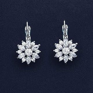 Zircon Flower Ear Clip Earrings High-grade Micro-set Earrings Creative Petals Earrings Copper Inlaid Zircon Fashion Hipster Earrings