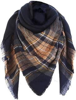 Sundayrose Plaid Blanket Scarf Oversized Square Tartan Shawl Wrap
