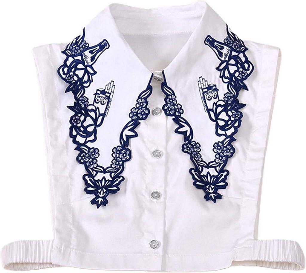 YOUSIKE Detachable Vest, Korean Ladies Embroidery Floral Lapel Fake Collar Button Down Detachable Half Shirt Blouse Autumn Sweater Decorative Clothing Accessories