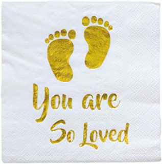 Baby Shower Beverage Disposable Napkin 3 Ply Gold Foil Footprint White Paper Cocktail Baptism Party for Neutral Gender Reveal Boy Girl You are So Loved 5 x 5 Inches Folded (25)