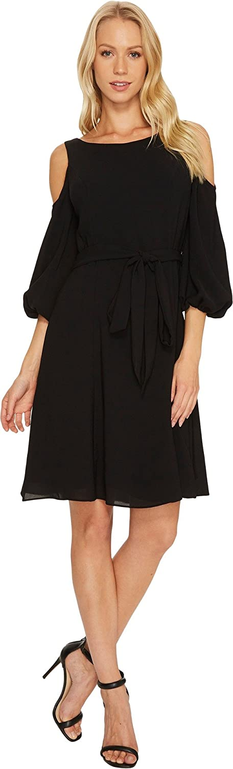 Adrianna Papell Womens Gauzy Crepe Cold Shoulder Dress