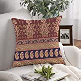 Decorative Throw Pillow Cover Soft Colorful Abstract Traditional Paisley Indian Vintage Red Antique Shape Arab Beautiful Style Beauty Cushion Cover for Couch Bedroom Car 16x16 Inch