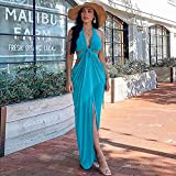 N\C Women's Fashion Party Sexy Solid Color V-Neck Halter Halter Long Dress Women's Dress