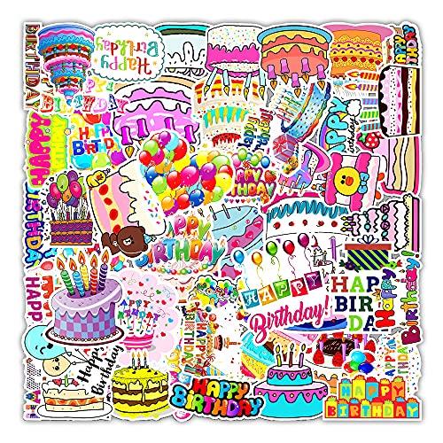 STKCST Dibujos Animados de Anime Doodle de cumpleaños Paquete de Pegatinas de Bricolaje Cuaderno Creativo Pegatina Calcomanía Decoración Maleta Pegatinas Coche Impermeable Colorido Lindo Vinilo