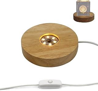 Mintso Wood LED Light Dispaly Base for Laser Crystal Glass Art,4 Inch,Warm Light (B)