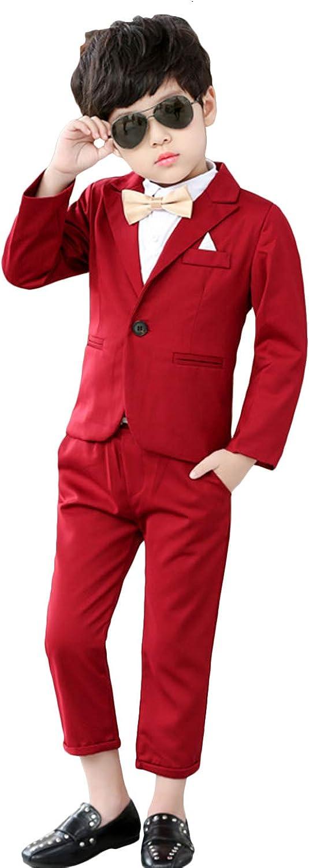 QZI Boys' Suit Two Pieces Peak Lapel One Button Slim Fit Prom Tuxedo